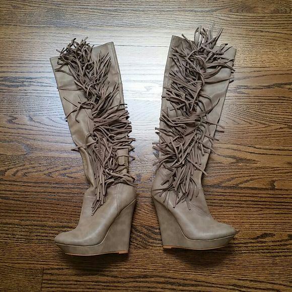 colin stuart fringe wedge boots shoes fringes and