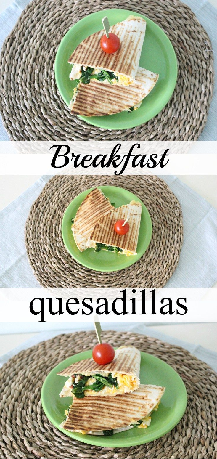These breakfast quesadillas with bacon, eggs, cheese and spinach are perfect to start your day! They're filling and contain some essential vitamins.