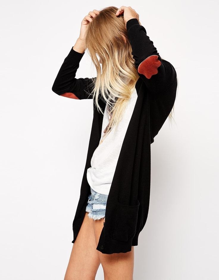 ASOS Longline Cardigan With Elbow Patch