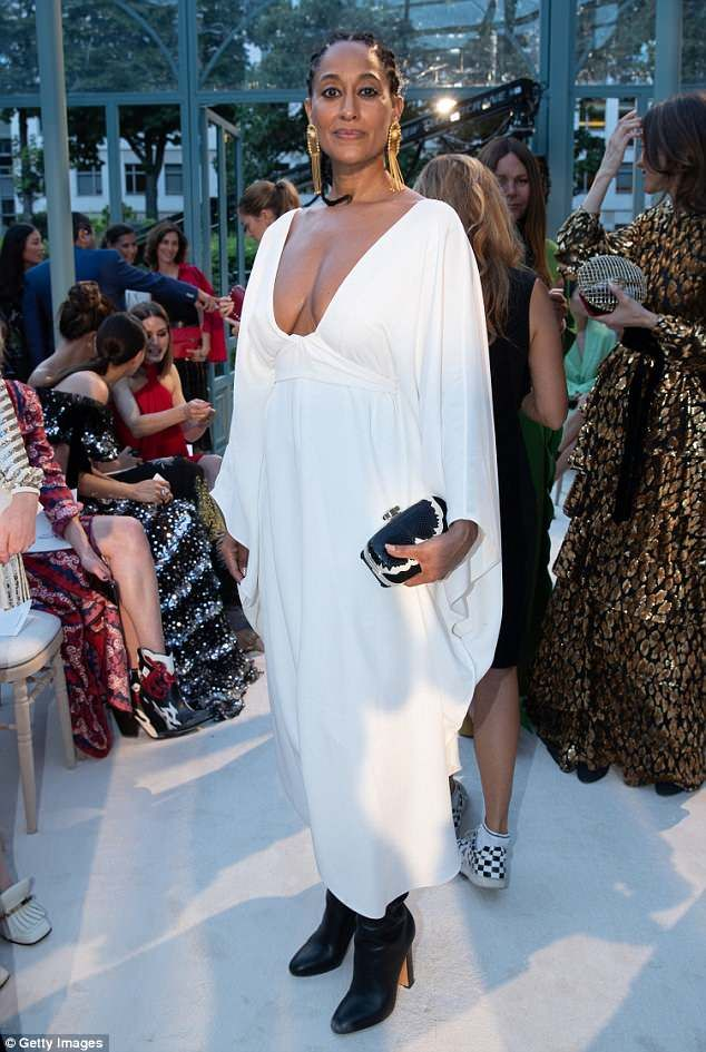 Tracee Ellis Ross stuns in plunging white gown at Valentino show ...