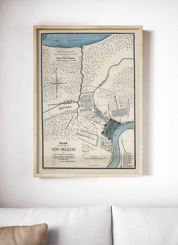 New Orleans Maps Vintage New Orleans Art Prints New Orleans City