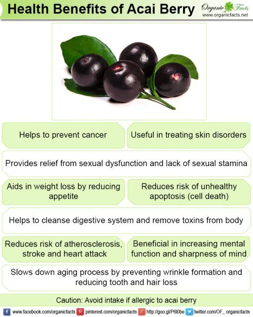 Health benefits of acai berries include improved cardiovascular health, weight… https://www.organicfacts.net/health-benefits/fruit/health-benefits-of-acai-berries.html