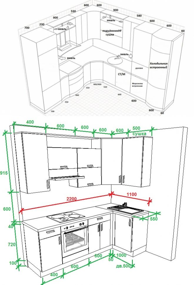 Кухонный гарнитур чертежи и схемы угловой