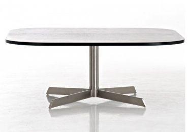 Konferenční stolek s nerezovou podnoží Cosmos, 90 cm, černý