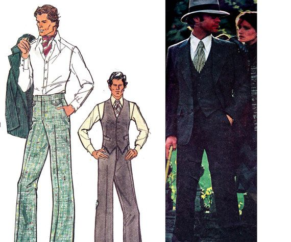 70s Retro BILL BLASS Mens 3 Piece Suit Pattern Vogue Americana 1129 Vintage Sewing Pattern size Chest 40 inches Neck 15 1/2