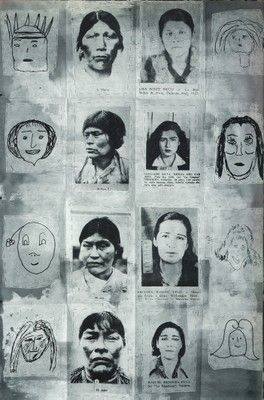 Eugenio Dittborn, the 13th history of the human face(The Portal of H.), Airmail Painting No.95, 1991 courtesy of Alexander & Bonin, New York and the artist