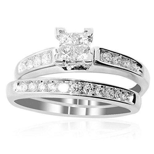 Nice K White Gold Bridal Set cttw Princess Cut Diamonds pc Set Click image