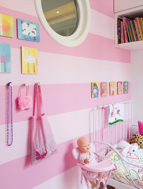 striped walls in kids' room