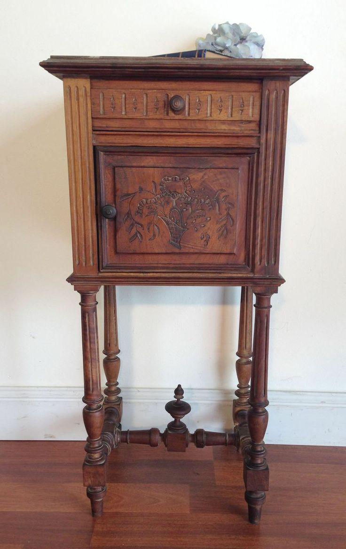 Antique French Marble Top Bedside Side Cabinet  Bedroom