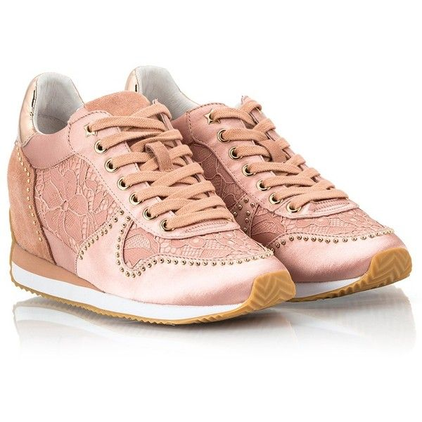 Ash - BLUSH Pink satin and suede leather micro-stud embellished... ($205) ❤ liked on Polyvore featuring shoes, sneakers, pink rose, ash sneakers, studded sneakers, suede low top sneakers, pastel pink sneakers and pastel sneakers
