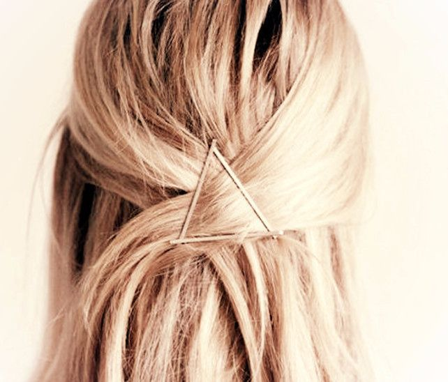 Celebrity Trending Gold Triangle Hair Clip Hairpin Wedding Barrette