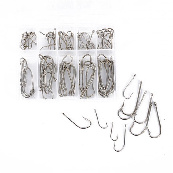 100Pcs Fishing Hooks 3# - 12# Fishing Gear Equipment Accessories with 1 Plastic Box