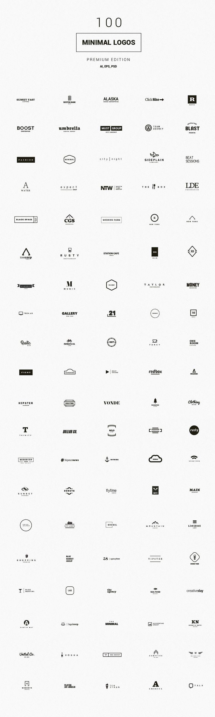 100 Minimal Logos - Premium Kit by DesignDistrict on @creativemarket