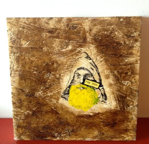 Original Mixed Media Art Wood Transfer Yellow by WoodArtMixedMedia