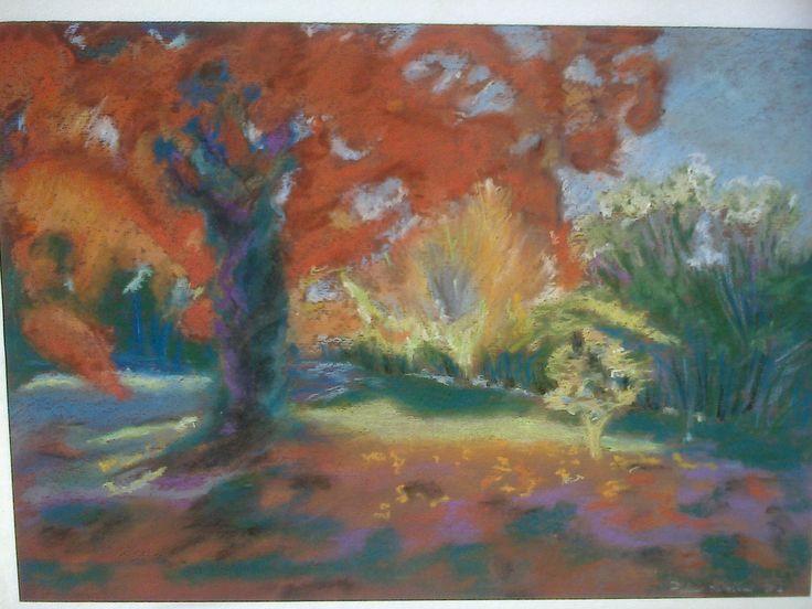 podzimní strom křídou