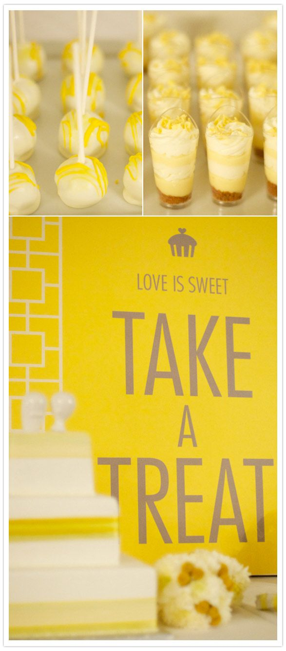 bunch of dessert shooters in various flavors. Love the idea of adding cake pops.. and I Love the sign :)