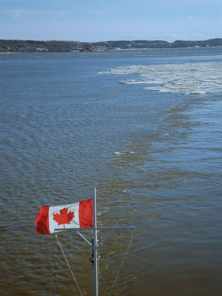 Bac de Québec à Levis Ferry in Quebec City Canadian flag