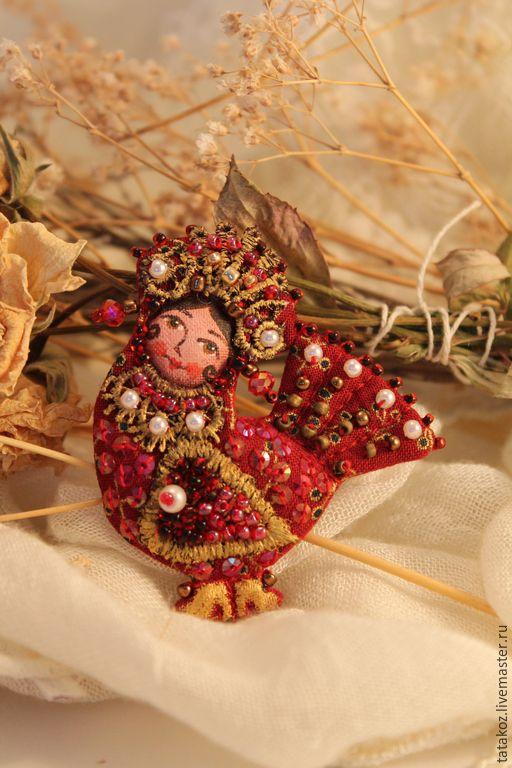 Купить Брошь сказочная птица - бордовый, брошь, брошь ручной работы, текстильная брошь