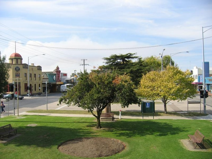 Bairnsdale Commercial centre and shops. View east from Rotunda towards Bailey St