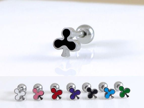Check out this item in my Etsy shop https://www.etsy.com/listing/529617581/club-stud-piercingclover-barbell