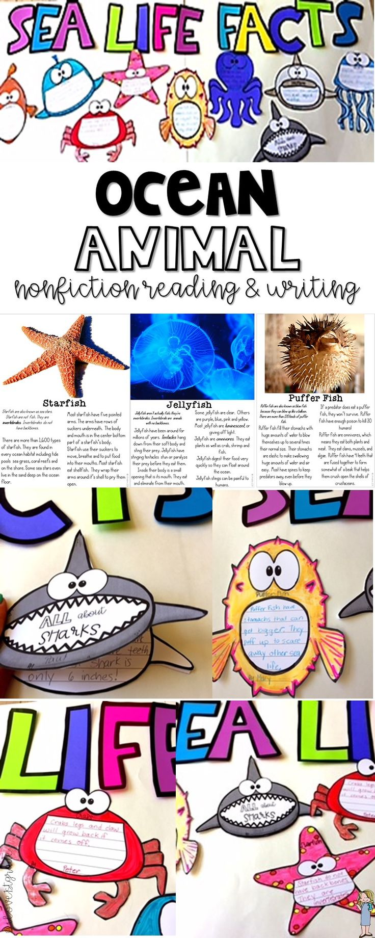 This 74 page pack has 9 nonfiction reading passages that students use to write facts and/or books. You can turn this pack into an adorable ocean bulletin board. Students read the articles and write facts that they learned about them. They can turn the facts into a one page fact sheet or a book. Animals: crab, clownfish, puffer fish, dolphin, jellyfish, octopus, starfish, shark, whale