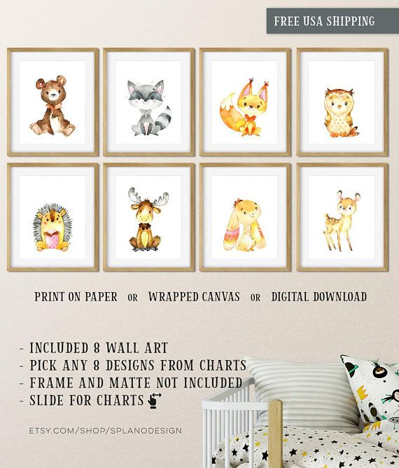 Baby Woodland Animal Prints For Nursery Watercolor Baby Animal