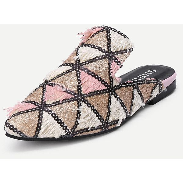 SheIn(sheinside) Triangle Pattern Pointed Toe Flats (3040 RSD) ❤ liked on Polyvore featuring shoes, flats, pointy toe flat shoes, flat pointed-toe shoes, pointed toe shoes, colorful shoes and multi coloured shoes