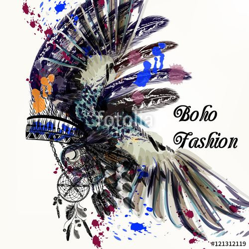 Wektor: Fashion illustration with Indian head dress and ink spots boho s