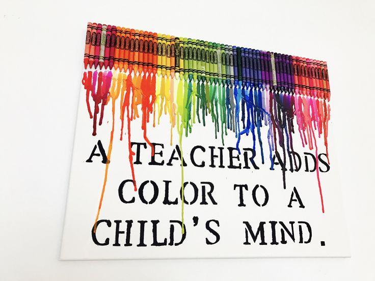 Teacher Gift - Melted Crayon Art - Teacher Appreciation Gift by IWantThattt on Etsy https://www.etsy.com/listing/483635838/teacher-gift-melted-crayon-art-teacher