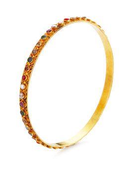Diamond & Navratan Bangle Bracelet from Fine Jewelry Shop: Bracelets on Gilt