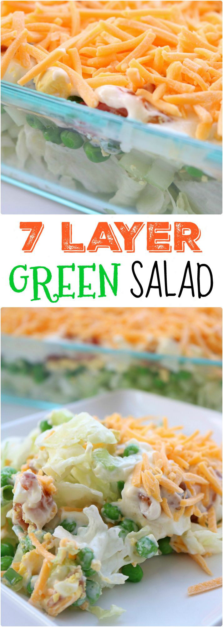 Super easy 7-Layer Salad with Iceberg lettuce, bacon, green onion, celery, egg, peas, and cheese. And a homemade dressing.