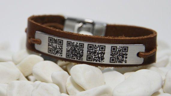 FREE SHIPPING - Men's Personalized - QR Code Bracelet - Woman Bracelet - Men's Leather Bracelet - aluminum plate  Ask a Question $49.00 USD