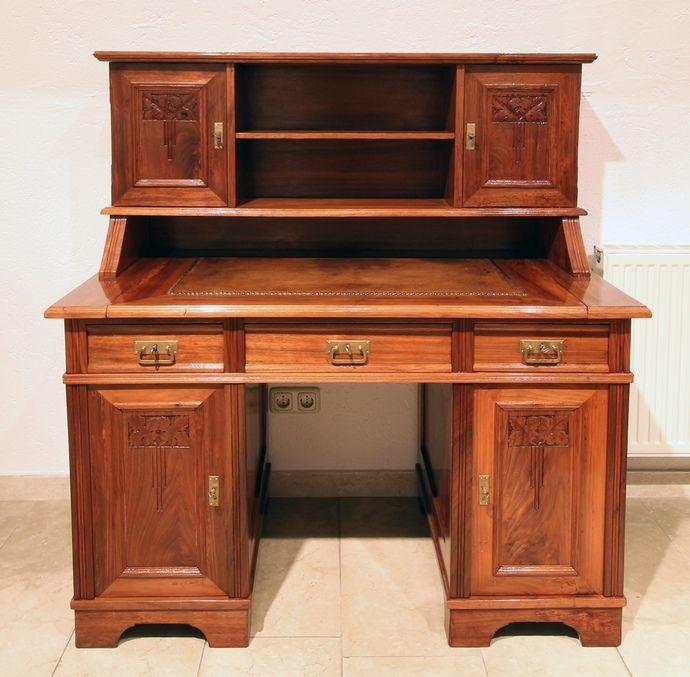 aufsatzschreibtisch nussbaum jugendstil antiquit ten. Black Bedroom Furniture Sets. Home Design Ideas