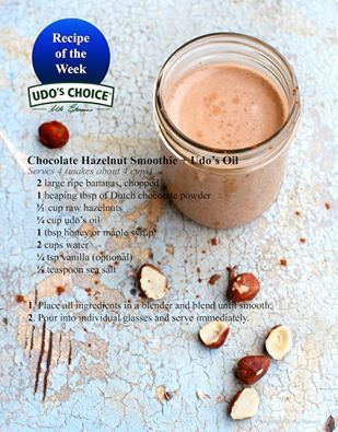 Who needs Nutella when you can satisfy your chocolate craving with this  vegan Chocolate Hazelnut Smoothie recipe with Udo's Oil #udosoil #recipe #healthy #goodfats