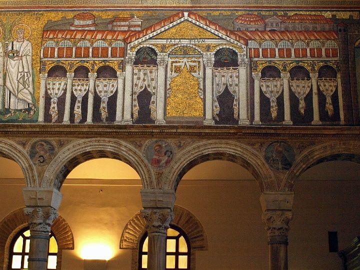 Mozaika przedstawiająca Pałac Teodoryka. San Apollinare Nuovo w Rawennie, Foto.: (c) Krzysztof Firkowski