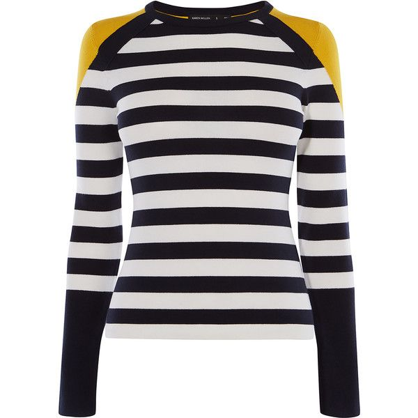 Karen Millen Stripe Knit Jumper ($145) ❤ liked on Polyvore featuring tops, sweaters, white sweater, white knit top, knit crew neck sweater, white jumper and striped crew neck sweater