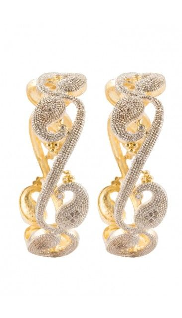 Traditional Gold plated Floral cut out bangles - 80951