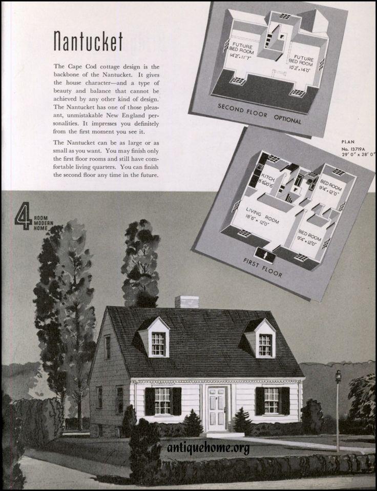 Sears Nantucket 1939 13719A 13719B   1940    6  Gabled roof 1 1 2 stories   side entrance  2 or more front dormers   Pinterest   Vintage house plans. Sears Nantucket 1939 13719A 13719B   1940    6  Gabled roof 1 1 2