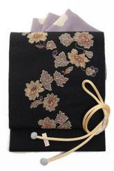 西陣織紬八寸名古屋帯「菊模様」黒地とみや謹製