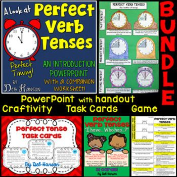 This bundle of four resources focuses on the perfect verb tenses - past perfect, present perfect, and future perfect.