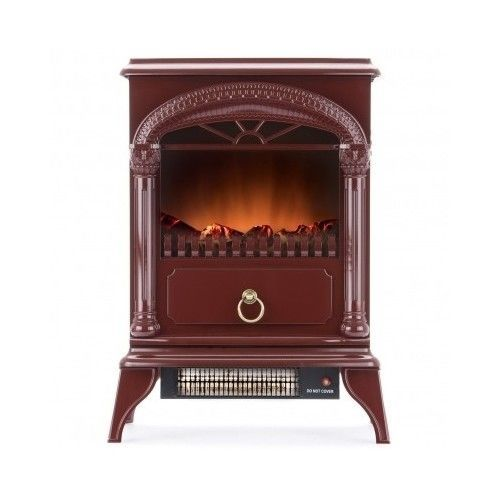 Red Portable Electric Fireplace Free Standing Stove Heater Glass Vintage Logs #Hamilton