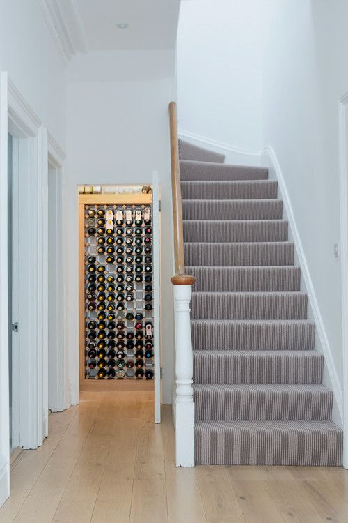 Grey striped stairs carpet