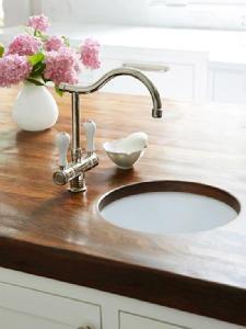 Bar - butcher-block countertop + small round bar sink