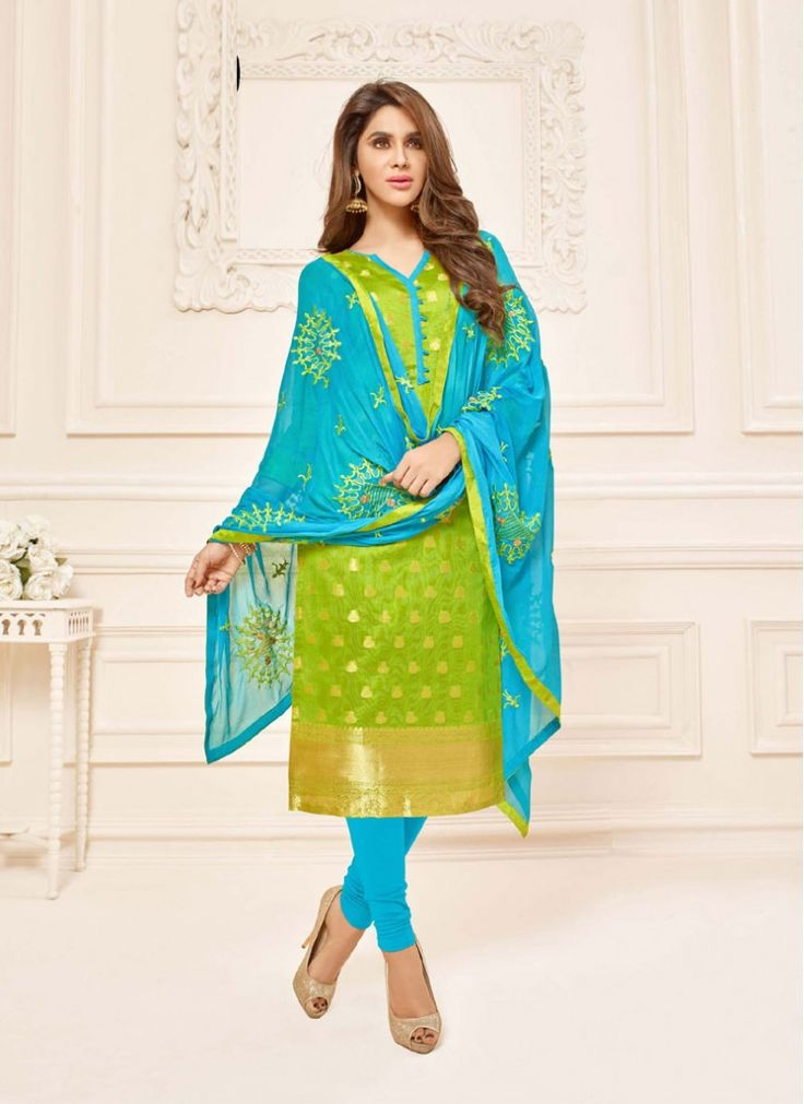 Mesmeric Green and Turquoise Embroidered Jacquard Indian Salwar Kameez