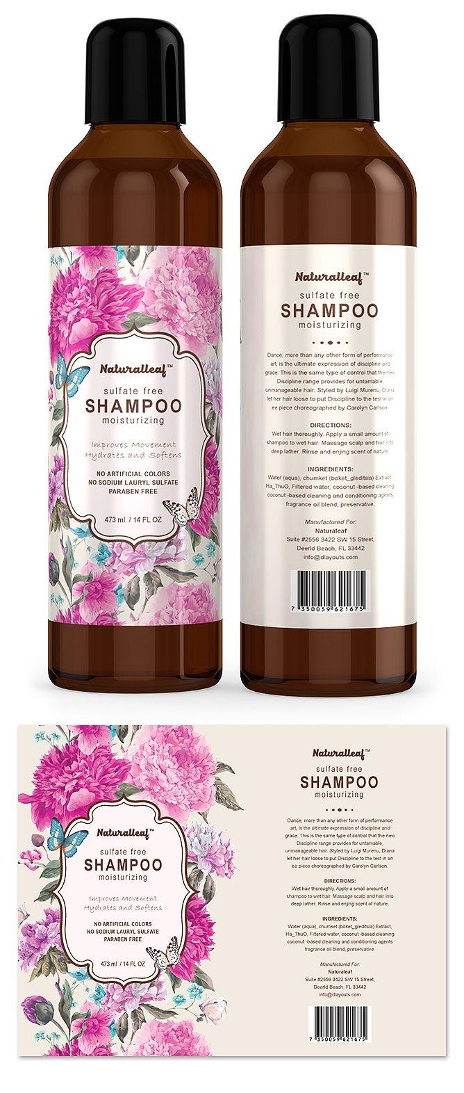 Hair Shampoo Label Template | Graphic Design Label ...