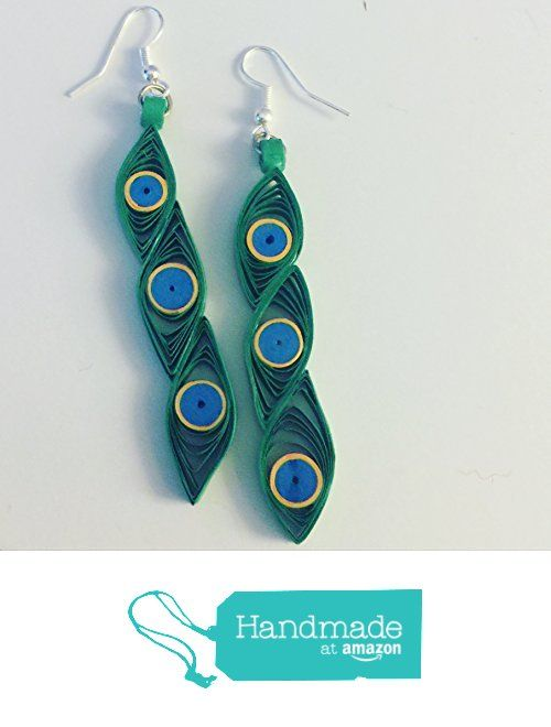 Peacock Earrings from Quilled Cards