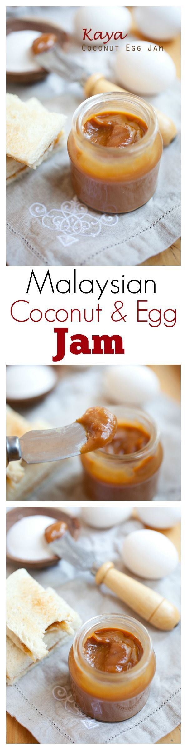 Kaya is a delicious Malaysian jam made with coconut, eggs and caramel. Rich and aromatic jam which is perfect for toast and a cup of coffee | rasamalaysia.com
