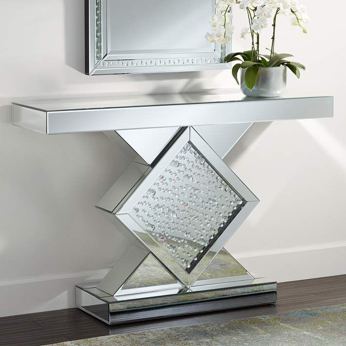 Fostoria 46 1 2 Wide Silver Mirror Crystal Console Table 11t89 Lamps Plus Console Table Contemporary Console Table Console Table Styling