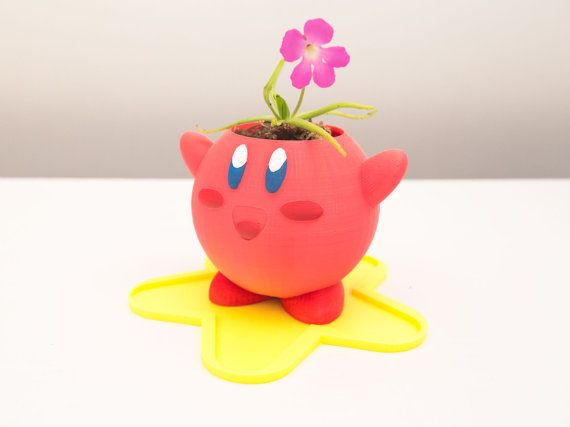 3D Printed Kirby Planter by Pixil3D on Etsy, $80.00