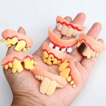 Prank Startle Tooth Scary Crooked Monster Teeth Novelty Toy Children Adult Horror Teeth Practical Jokes Funny Toys  Price: 0.14 USD